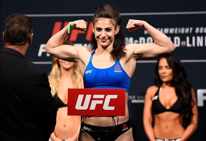 SIOUX FALLS, SD - JULY 12:   Cristina Stanciu steps onto the scale during the UFC Fight Night weigh-in at Denny Sanford Premier Center on July 12, 2016 in Sioux Falls, South Dakota. (Photo by Jeff Bottari/Zuffa LLC/Zuffa LLC via Getty Images)