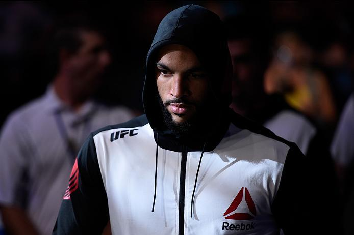 SIOUX FALLS, SD - JULY 13:   Devin Clark prepares to face Alex Nicholson in their middleweight bout during the UFC Fight Night event on July 13, 2016 at Denny Sanford Premier Center in Sioux Falls, South Dakota. (Photo by Jeff Bottari/Zuffa LLC/Zuffa LLC