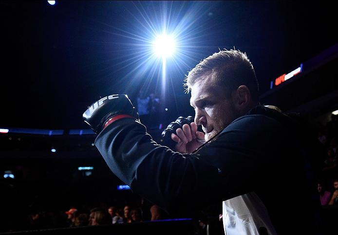 SIOUX FALLS, SD - JULY 13:   Scott Holtzman prepares to face Cody Pfister in their lightweight bout during the UFC Fight Night event on July 13, 2016 at Denny Sanford Premier Center in Sioux Falls, South Dakota. (Photo by Jeff Bottari/Zuffa LLC/Zuffa LLC