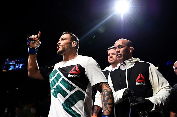 LAS VEGAS, NV - JULY 07:   Reginaldo Vieira of Brazil prepares to enter the Octagon before his bantamweight bout against Marco Beltran of Mexico during the UFC Fight Night event inside the MGM Grand Garden Arena on July 7, 2016 in Las Vegas, Nevada. (Phot