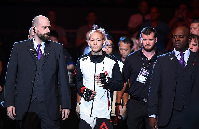 ROTTERDAM, NETHERLANDS - MAY 08:  Ulka Sasaki prepares to enter the Octagon before facing Willie Gates in their flyweight bout during the UFC Fight Night event at Ahoy Rotterdam on May 8, 2016 in Rotterdam, Netherlands. (Photo by Josh Hedges/Zuffa LLC/Zuf
