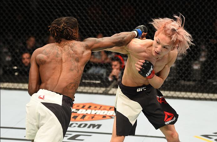 ROTTERDAM, NETHERLANDS - MAY 08:  (R-L) Ulka Sasaki exchanges punches with Willie Gates in their flyweight bout during the UFC Fight Night event at Ahoy Rotterdam on May 8, 2016 in Rotterdam, Netherlands. (Photo by Josh Hedges/Zuffa LLC/Zuffa LLC via Gett