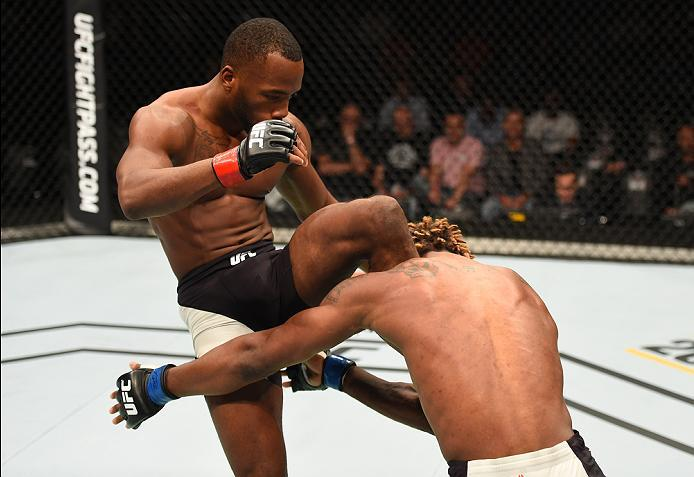 ROTTERDAM, NETHERLANDS - MAY 08:  (L-R) Leon Edwards knees Dominic Waters in their welterweight bout during the UFC Fight Night event at Ahoy Rotterdam on May 8, 2016 in Rotterdam, Netherlands. (Photo by Josh Hedges/Zuffa LLC/Zuffa LLC via Getty Images)