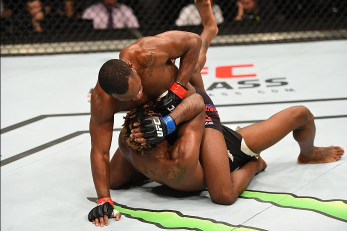 ROTTERDAM, NETHERLANDS - MAY 08:  Leon Edwards (top) punches Dominic Waters in their welterweight bout during the UFC Fight Night event at Ahoy Rotterdam on May 8, 2016 in Rotterdam, Netherlands. (Photo by Josh Hedges/Zuffa LLC/Zuffa LLC via Getty Images)