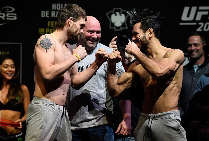 BROOKLYN, NEW YORK - FEBRUARY 10:  (L-R) Rick Glenn and Phillipe Nover face off during the UFC 208 weigh-in inside Kings Theater on February 10, 2017 in Brooklyn, New York. (Photo by Jeff Bottari/Zuffa LLC/Zuffa LLC via Getty Images)