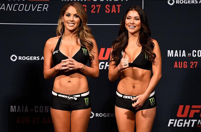 VANCOUVER, BC - AUGUST 26:  (L-R) UFC Octagon Girls Brittney Palmer and Arianny Celeste smile at the fans during the UFC Fight Night Weigh-in at Rogers Arena on August 26, 2016 in Vancouver, British Columbia, Canada. (Photo by Jeff Bottari/Zuffa LLC/Zuffa
