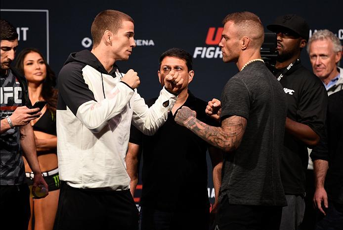 VANCOUVER, BC - AUGUST 26:  (L-R) Opponents Jeremy Kennedy and Alessandro Ricci face off during the UFC Fight Night Weigh-in at Rogers Arena on August 26, 2016 in Vancouver, British Columbia, Canada. (Photo by Jeff Bottari/Zuffa LLC/Zuffa LLC via Getty Im