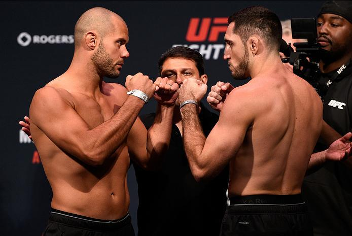 VANCOUVER, BC - AUGUST 26:  (L-R) Opponents Chad Laprise and Thibault Gouti of France face off during the UFC Fight Night Weigh-in at Rogers Arena on August 26, 2016 in Vancouver, British Columbia, Canada. (Photo by Jeff Bottari/Zuffa LLC/Zuffa LLC via Ge