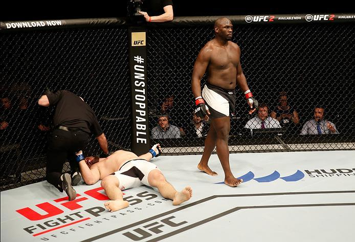 ZAGREB, CROATIA - APRIL 10:   (R-L) Jared Cannonier knocks outs Cyril Asker in the first round in their heavyweight bout during the UFC Fight Night event at the Arena Zagreb on April 10, 2016 in Zagreb, Croatia. (Photo by Srdjan Stevanovic/Zuffa LLC/Zuffa