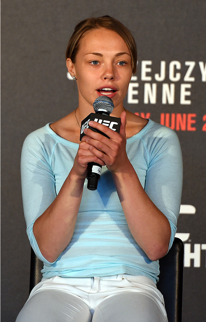 BERLIN, GERMANY - JUNE 19:   Rose Namajunas interacts with fans during a Q&A session before the UFC Berlin weigh-in at the O2 World on June 19, 2015 in Berlin, Germany. (Photo by Josh Hedges/Zuffa LLC/Zuffa LLC via Getty Images)