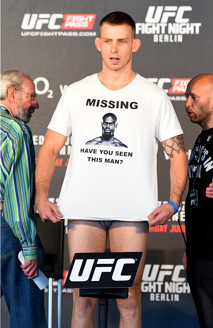 BERLIN, GERMANY - JUNE 19:   Krzysztof Jotko of Poland weighs in during the UFC Berlin weigh-in at the O2 World on June 19, 2015 in Berlin, Germany. (Photo by Josh Hedges/Zuffa LLC/Zuffa LLC via Getty Images)
