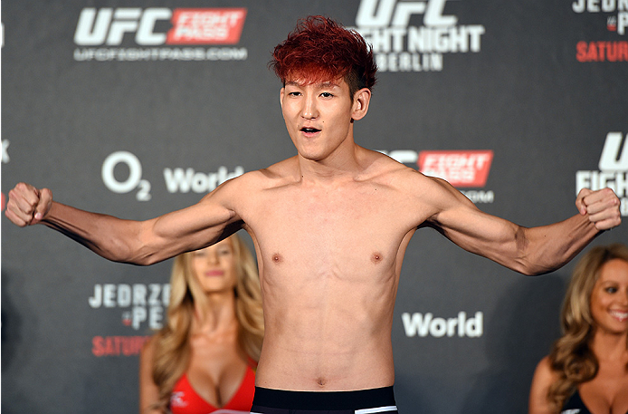 BERLIN, GERMANY - JUNE 19:   Ulka Sasaki of Japan weighs in during the UFC Berlin weigh-in at the O2 World on June 19, 2015 in Berlin, Germany. (Photo by Josh Hedges/Zuffa LLC/Zuffa LLC via Getty Images)
