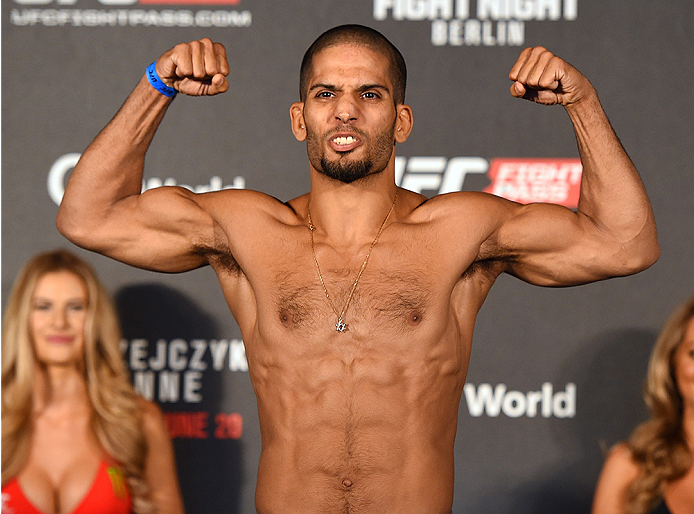 BERLIN, GERMANY - JUNE 19:   Noad Lahat of Isreal weighs in during the UFC Berlin weigh-in at the O2 World on June 19, 2015 in Berlin, Germany. (Photo by Josh Hedges/Zuffa LLC/Zuffa LLC via Getty Images)