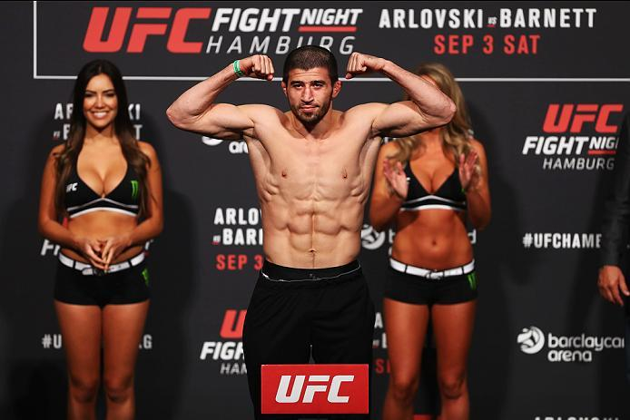 HAMBURG, GERMANY - SEPTEMBER 02:  Rustam Khabilov of Russia is pictured during the UFC Fight Night Weigh-in held at Barclaycard Arena on September 2, 2016 in Hamburg, Germany.  Andrei 'The Pit Bull' Arlovski and Josh 'The Warmaster' Barnett will fight in