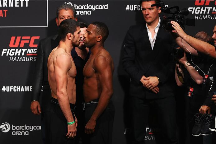 HAMBURG, GERMANY - SEPTEMBER 02:  Leandro Silva of Brazil and Rustam Khabilov of Russia come face to face during the UFC Fight Night Weigh-in held at Barclaycard Arena on September 2, 2016 in Hamburg, Germany.  Andrei 'The Pit Bull' Arlovski and Josh 'The