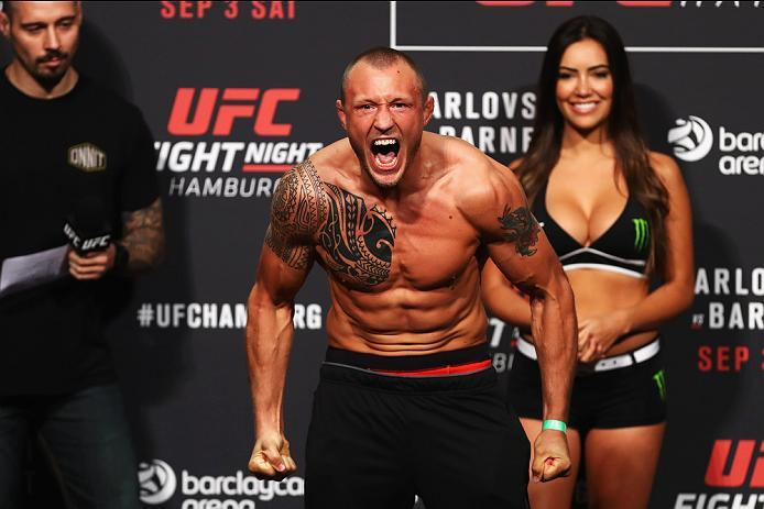 HAMBURG, GERMANY - SEPTEMBER 02:  Jack Hermansson of Sweden is pictured during the UFC Fight Night Weigh-in held at Barclaycard Arena on September 2, 2016 in Hamburg, Germany.  Andrei 'The Pit Bull' Arlovski and Josh 'The Warmaster' Barnett will fight in