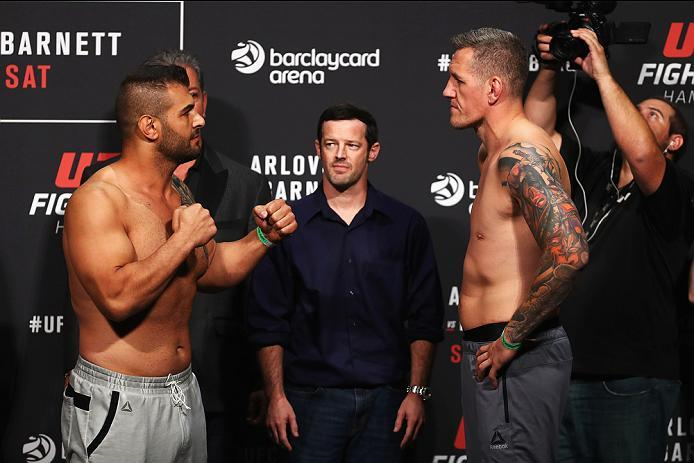 HAMBURG, GERMANY - SEPTEMBER 02:  Christian Colombo of Denmark and Jarjis Danho of Syria come face to face during the UFC Fight Night Weigh-in held at Barclaycard Arena on September 2, 2016 in Hamburg, Germany.  Andrei 'The Pit Bull' Arlovski and Josh 'Th