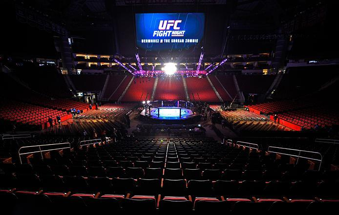 HOUSTON, TX - FEBRUARY 04:   A general view of the arena before the UFC Fight Night event at the Toyota Center on February 4, 2017 in Houston, Texas. (Photo by Jeff Bottari/Zuffa LLC/Zuffa LLC via Getty Images)