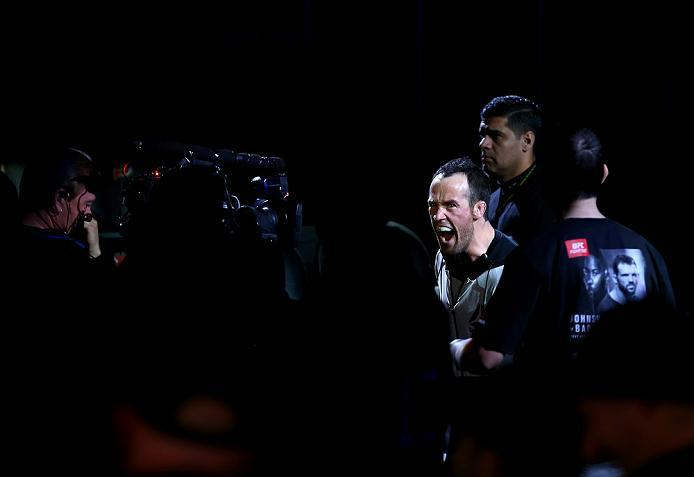 NEWARK, NJ - JANUARY 30:  Damon Jackson prepares to enter the Octagon before facing Levan Makashvili in their featherweight bout during the UFC Fight Night event at the Prudential Center on January 30, 2016 in Newark, New Jersey. (Photo by Josh Hedges/Zuf