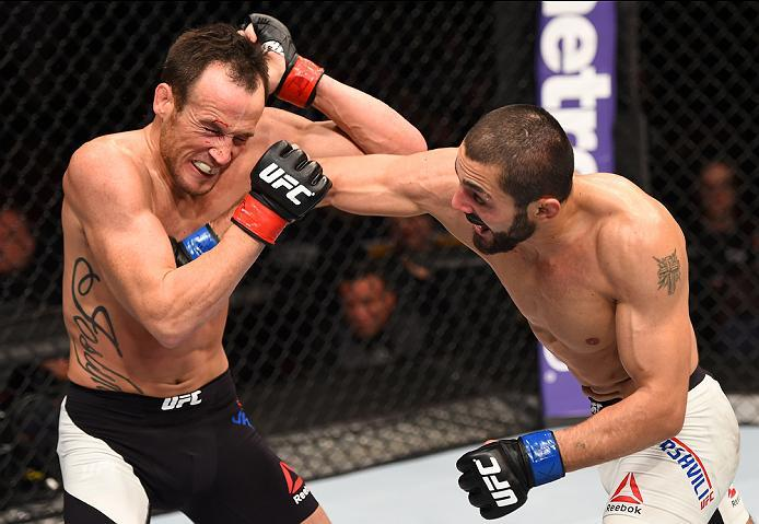 NEWARK, NJ - JANUARY 30:  (R-L) Levan Makashvili punches Damon Jackson in their featherweight bout during the UFC Fight Night event at the Prudential Center on January 30, 2016 in Newark, New Jersey. (Photo by Josh Hedges/Zuffa LLC/Zuffa LLC via Getty Ima