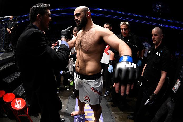 PITTSBURGH, PA - FEBRUARY 21:  Shamil Abdurakhimov prepares to enter the octagon before facing Anthony Hamilton in their heavyweight bout during the UFC Fight Night event at Consol Energy Center on February 21, 2016 in Pittsburgh, Pennsylvania. (Photo by