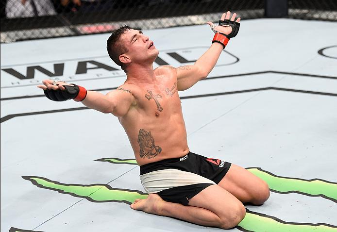 MEXICO CITY, MEXICO - NOVEMBER 05:  Diego Sanchez of the United States raises his hands after facing Marcin Held of Poland in their lightweight bout during the UFC Fight Night event at Arena Ciudad de Mexico on November 5, 2016 in Mexico City, Mexico. (Ph