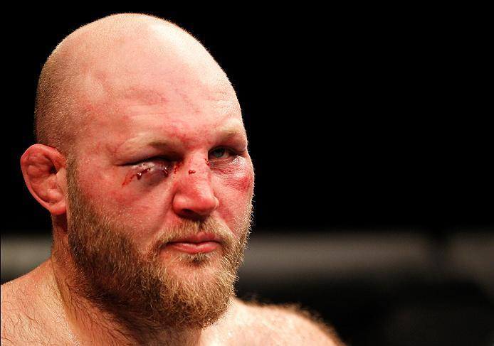 ZAGREB, CROATIA - APRIL 10:   Ben Rothwell reacts to his loss to Junior Dos Santos in their heavyweight bout during the UFC Fight Night event at the Arena Zagreb on April 10, 2016 in Zagreb, Croatia. (Photo by Srdjan Stevanovic/Zuffa LLC/Zuffa LLC via Get