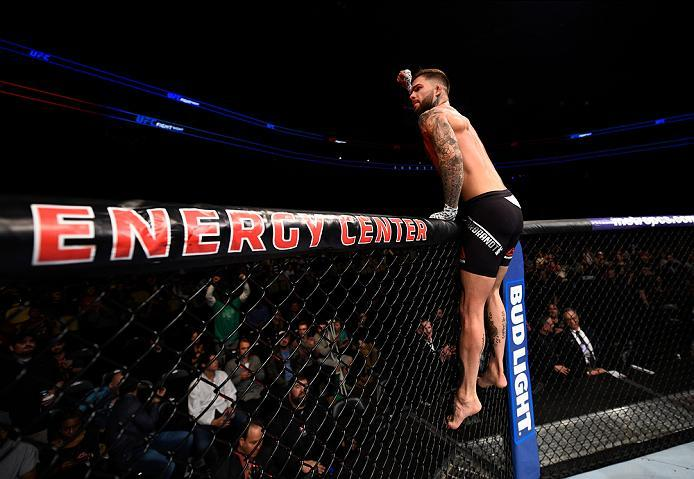 PITTSBURGH, PA - FEBRUARY 21:  Cody Garbrandt celebrates his knockout victory over Augusto Mendes in their bantamweight bout during the UFC Fight Night event at Consol Energy Center on February 21, 2016 in Pittsburgh, Pennsylvania. (Photo by Jeff Bottari/