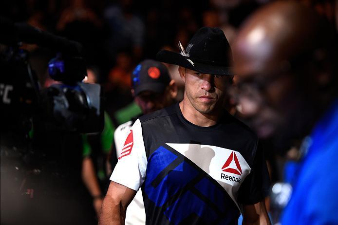 OTTAWA, ON - JUNE 18:   Donald Cerrone of the United States prepares to enter the Octagon before facing Patrick Cote of Canada in their welterweight bout during the UFC Fight Night event inside the TD Place Arena on June 18, 2016 in Ottawa, Ontario, Canad