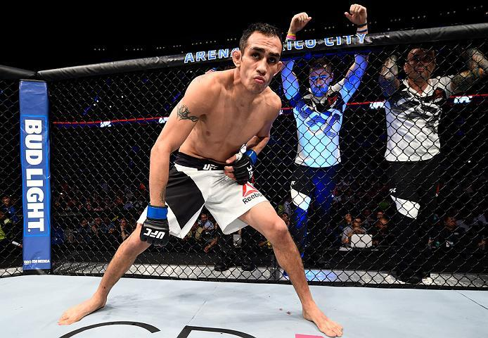 MEXICO CITY, MEXICO - NOVEMBER 05:  Tony Ferguson of the United States enters the Octagon before facing Rafael Dos Anjos of Brazil in their lightweight bout during the UFC Fight Night event at Arena Ciudad de Mexico on November 5, 2016 in Mexico City, Mex