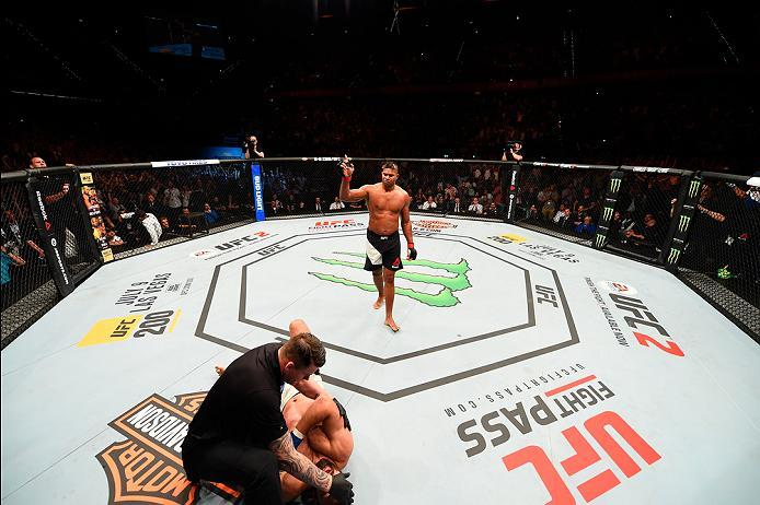 ROTTERDAM, NETHERLANDS - MAY 08:  (R-L) Alistair Overeem celebrates his victory over Andrei Arlovski in their heavyweight bout during the UFC Fight Night event at Ahoy Rotterdam on May 8, 2016 in Rotterdam, Netherlands. (Photo by Josh Hedges/Zuffa LLC/Zuf