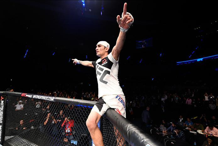 MEXICO CITY, MEXICO - NOVEMBER 05:  Tony Ferguson of the United States celebrates his victory over Rafael Dos Anjos of Brazil in their lightweight bout during the UFC Fight Night event at Arena Ciudad de Mexico on November 5, 2016 in Mexico City, Mexico.
