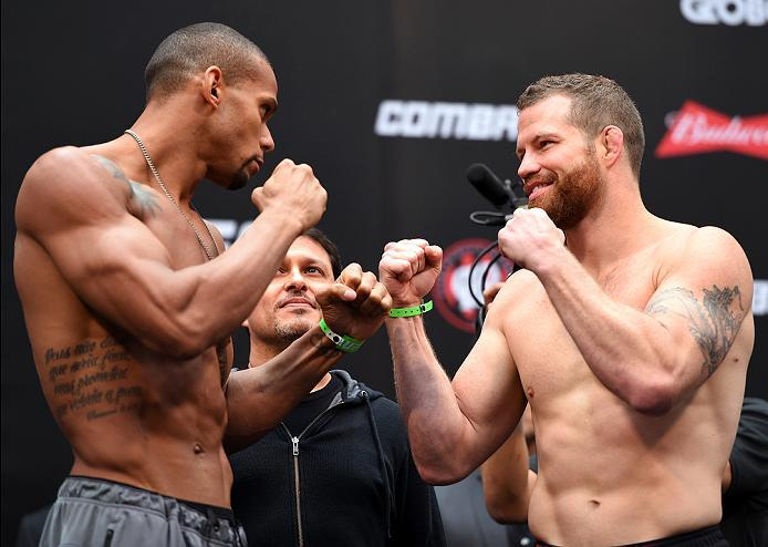 CURITIBA, BRAZIL - MAY 13:  (L-R) Opponents Thiago Santos of Brazil and Nate Marquardt face off during the UFC 198 weigh-in at Arena da Baixada stadium on May 13, 2016 in Curitiba, Parana, Brazil.  (Photo by Josh Hedges/Zuffa LLC/Zuffa LLC via Getty Image