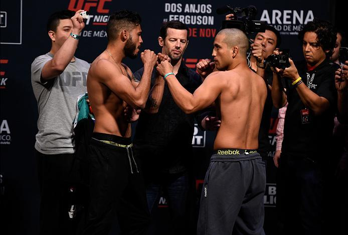 MEXICO CITY, MEXICO - NOVEMBER 04:  (L-R) Marco Beltran of Mexico and Joe Soto of the United States face off during the UFC weigh-in at the Arena Ciudad de Mexico on November 4, 2016 in Mexico City, Mexico. (Photo by Jeff Bottari/Zuffa LLC/Zuffa LLC via G