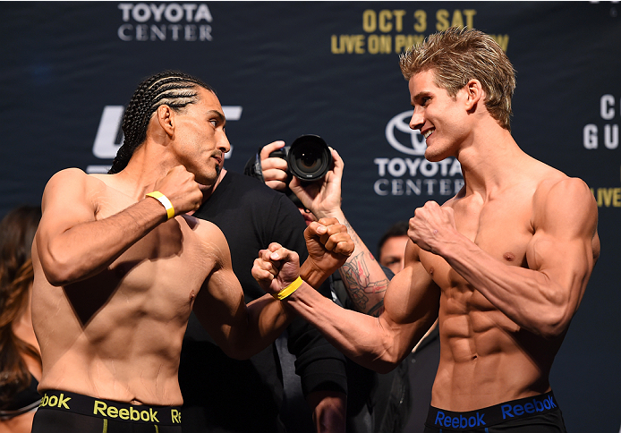 HOUSTON, TX - OCTOBER 02:  Francisco Trevino and Sage Northcutt face off during the UFC 192 weigh-in at the Toyota Center on October 2, 2015 in Houston, Texas. (Photo by Josh Hedges/Zuffa LLC/Zuffa LLC via Getty Images)