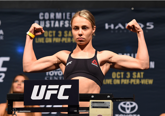 HOUSTON, TX - OCTOBER 02:  Rose Namajunas steps on the scale during the UFC 192 weigh-in at the Toyota Center on October 2, 2015 in Houston, Texas. (Photo by Josh Hedges/Zuffa LLC/Zuffa LLC via Getty Images)