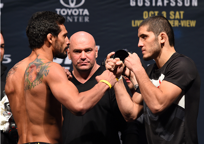 HOUSTON, TX - OCTOBER 02:  (L-R) Adriano Martins and Islam Makhachev face off during the UFC 192 weigh-in at the Toyota Center on October 2, 2015 in Houston, Texas. (Photo by Josh Hedges/Zuffa LLC/Zuffa LLC via Getty Images)