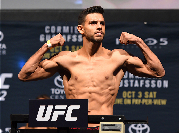 HOUSTON, TX - OCTOBER 02:  Yair Rodriguez steps on the scale during the UFC 192 weigh-in at the Toyota Center on October 2, 2015 in Houston, Texas. (Photo by Josh Hedges/Zuffa LLC/Zuffa LLC via Getty Images)