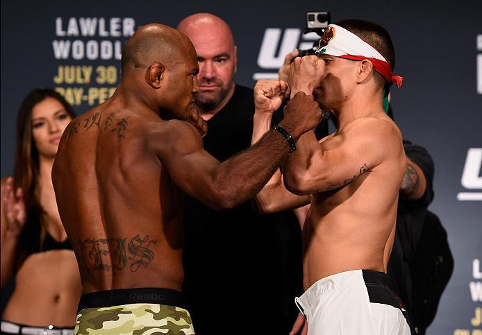 ATLANTA, GA - JULY 29:  (L-R) Opponents Wilson Reis of Brazil and Hector Sandoval of Mexico face off during the UFC 201 weigh-in at Fox Theatre on July 29, 2016 in Atlanta, Georgia. (Photo by Jeff Bottari/Zuffa LLC/Zuffa LLC via Getty Images)