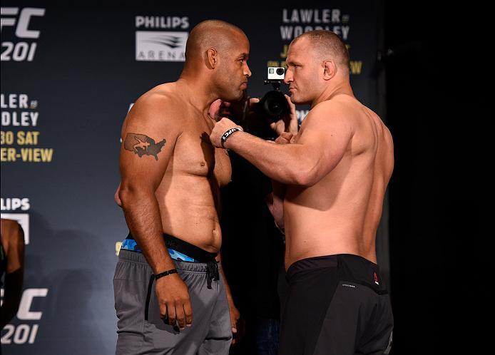 ATLANTA, GA - JULY 29:  (L-R) Opponents Anthony Hamilton and Damian Grabowski of Poland face off during the UFC 201 weigh-in at Fox Theatre on July 29, 2016 in Atlanta, Georgia. (Photo by Jeff Bottari/Zuffa LLC/Zuffa LLC via Getty Images)