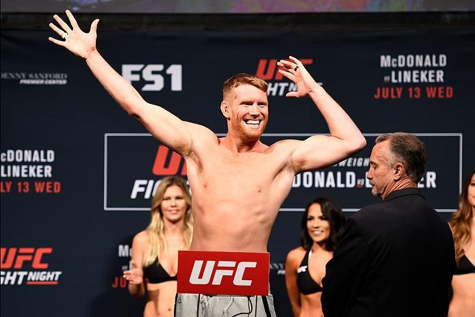 SIOUX FALLS, SD - JULY 12:   Sam Alvey steps onto the scale during the UFC Fight Night weigh-in at Denny Sanford Premier Center on July 12, 2016 in Sioux Falls, South Dakota. (Photo by Jeff Bottari/Zuffa LLC/Zuffa LLC via Getty Images)