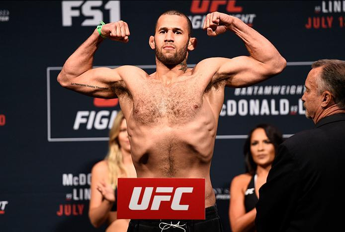 SIOUX FALLS, SD - JULY 12:   Eric Spicely steps onto the scale during the UFC Fight Night weigh-in at Denny Sanford Premier Center on July 12, 2016 in Sioux Falls, South Dakota. (Photo by Jeff Bottari/Zuffa LLC/Zuffa LLC via Getty Images)