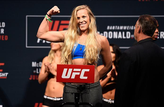 SIOUX FALLS, SD - JULY 12:   Katlyn Chookagian steps onto the scale during the UFC Fight Night weigh-in at Denny Sanford Premier Center on July 12, 2016 in Sioux Falls, South Dakota. (Photo by Jeff Bottari/Zuffa LLC/Zuffa LLC via Getty Images)