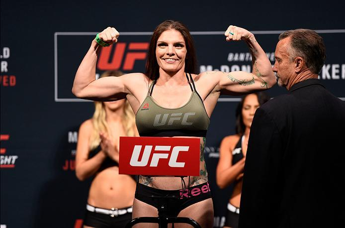 SIOUX FALLS, SD - JULY 12:   Lauren Murphy steps onto the scale during the UFC Fight Night weigh-in at Denny Sanford Premier Center on July 12, 2016 in Sioux Falls, South Dakota. (Photo by Jeff Bottari/Zuffa LLC/Zuffa LLC via Getty Images)