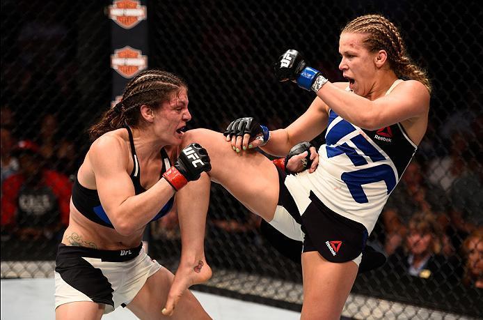SIOUX FALLS, SD - JULY 13:   (R-L) Katlyn Chookagian knees Lauren Murphy in their women's bantamweight bout during the UFC Fight Night event on July 13, 2016 at Denny Sanford Premier Center in Sioux Falls, South Dakota. (Photo by Jeff Bottari/Zuffa LLC/Zu