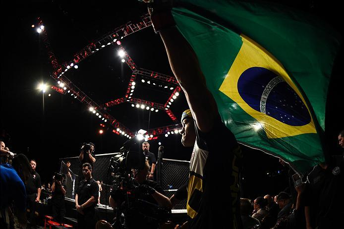 LAS VEGAS, NV - JULY 07:   Gilbert Burns of Brazil prepares to enter the Octagon before his lightweight bout against Lukasz Sajewski of Poland during the UFC Fight Night event inside the MGM Grand Garden Arena on July 7, 2016 in Las Vegas, Nevada. (Photo