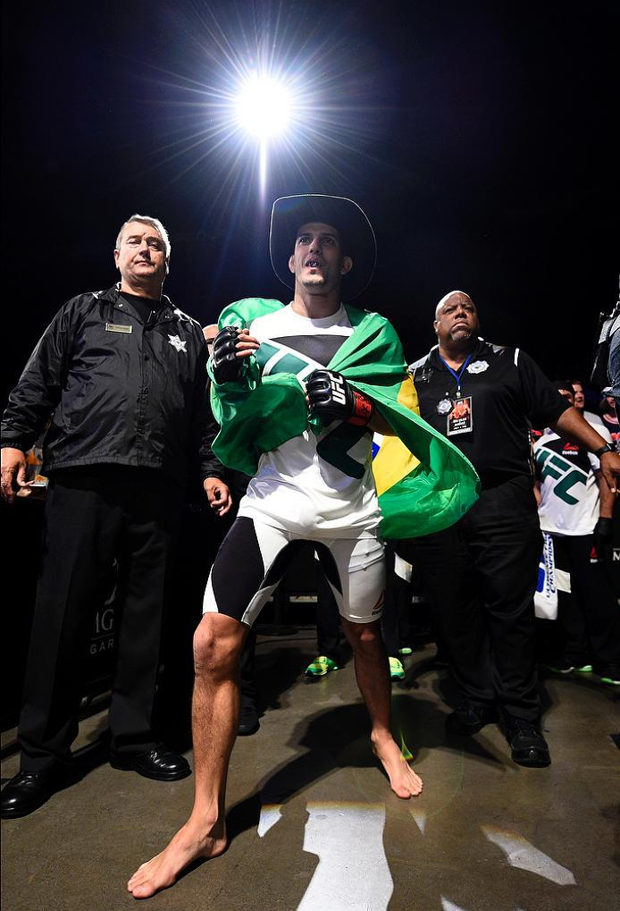 LAS VEGAS, NV - JULY 07:   Felipe Arantes of Brazil prepares to enter the Octagon before his bantamweight bout against Jerrod Sanders of the United States during the UFC Fight Night event inside the MGM Grand Garden Arena on July 7, 2016 in Las Vegas, Nev