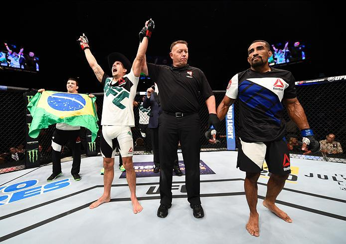LAS VEGAS, NV - JULY 07:   Felipe Arantes of Brazil celebrates after his submission victory over Jerrod Sanders of the United States in their bantamweight bout during the UFC Fight Night event inside the MGM Grand Garden Arena on July 7, 2016 in Las Vegas