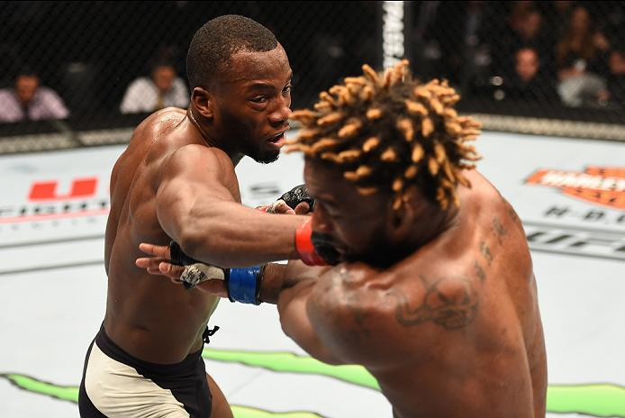 ROTTERDAM, NETHERLANDS - MAY 08:  (L-R) Leon Edwards punches Dominic Waters in their welterweight bout during the UFC Fight Night event at Ahoy Rotterdam on May 8, 2016 in Rotterdam, Netherlands. (Photo by Josh Hedges/Zuffa LLC/Zuffa LLC via Getty Images)