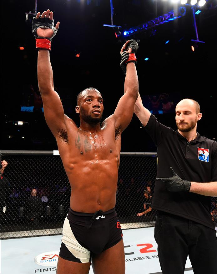 ROTTERDAM, NETHERLANDS - MAY 08:  Leon Edwards celebrates his victory over Dominic Waters in their welterweight bout during the UFC Fight Night event at Ahoy Rotterdam on May 8, 2016 in Rotterdam, Netherlands. (Photo by Josh Hedges/Zuffa LLC/Zuffa LLC via